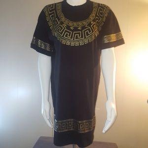 Black and Gold Metallic Trim Dress